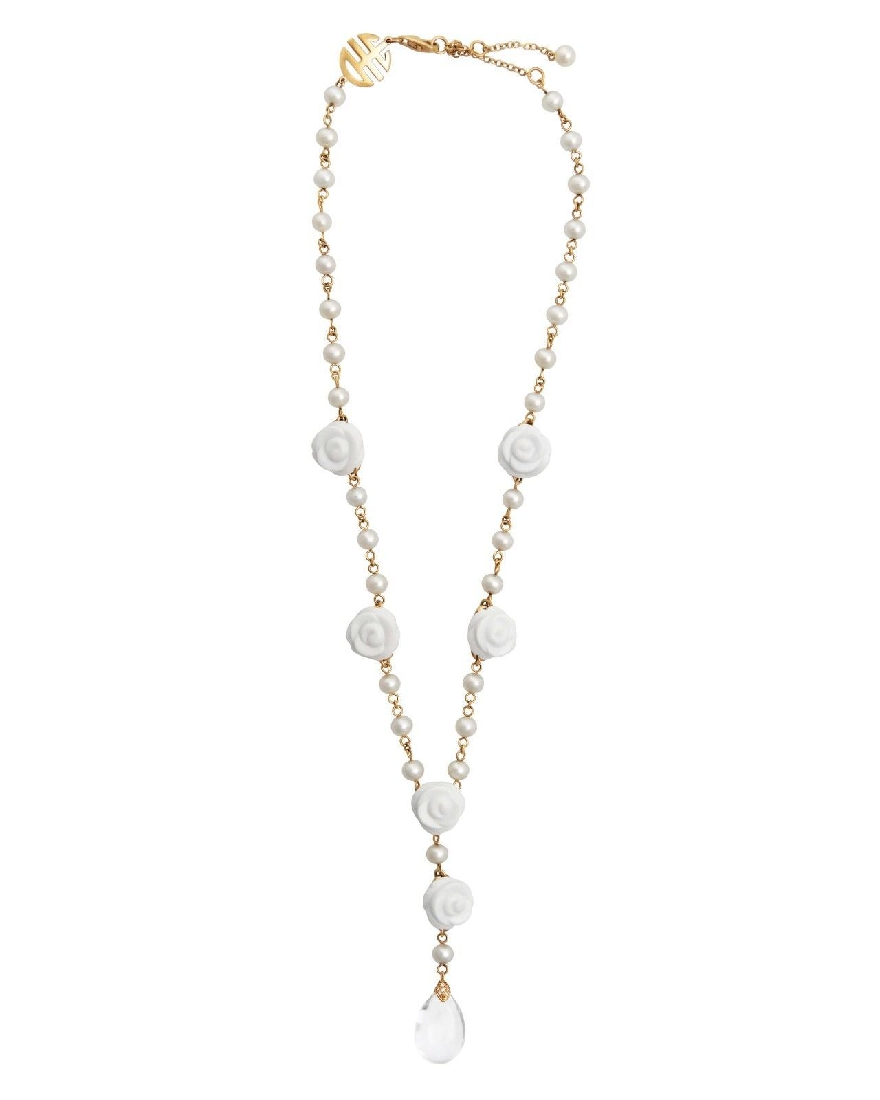 Mimi Milano Necklace In Rose 18K Gold Agate, White Pearls, Diamonds C347R1A1J
