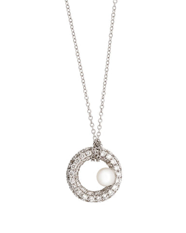 Mimi Milano Pendant In 18K White Gold, White Pearl Diamonds P366B1B