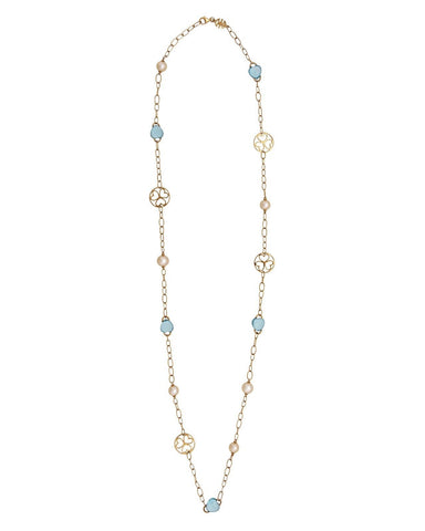 Mimi Milano Necklace In 18K Rose Gold, Sky Blue Topaz Pink Pearls C287R2T