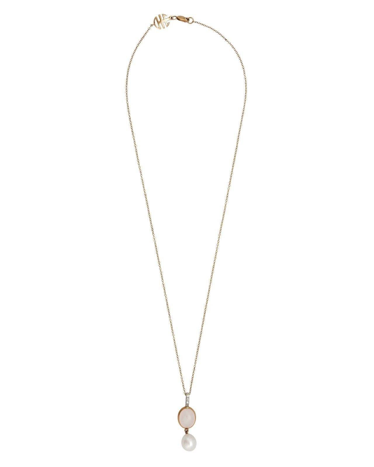 Mimi Milano Pendant In 18K Rose White Gold, Quartz White Pearl P323C1QLB