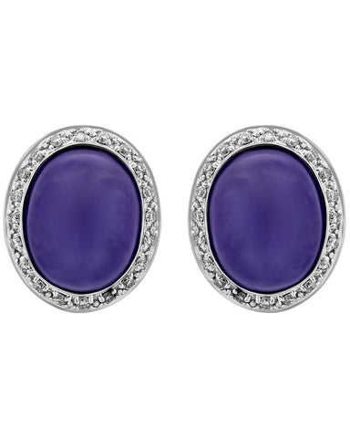 Mimi Milano 18K Rose White Gold, Lavender Jade, Diamonds Earrings O318C8LB