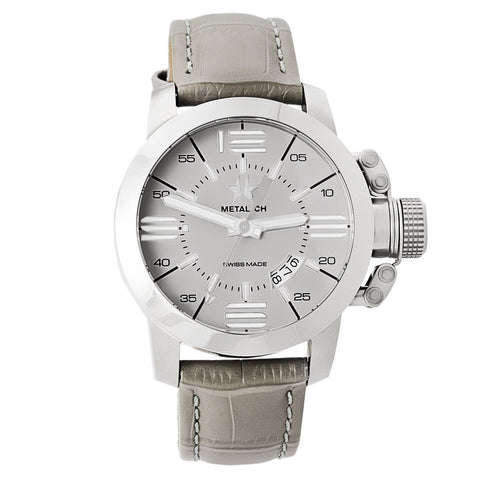 Chronometrie Initial Mens Swiss Made Gray Leather Watch 1132.44-Luxury Watches | Mens And Ladies Luxury Watches | Upscale Time