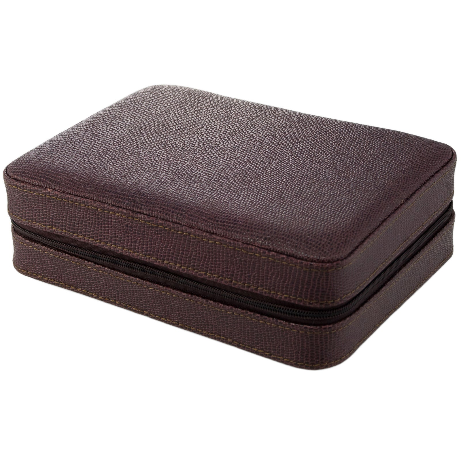 Watch Boxes 4 Watch Travel Case Leather Brown Lizard Pattern