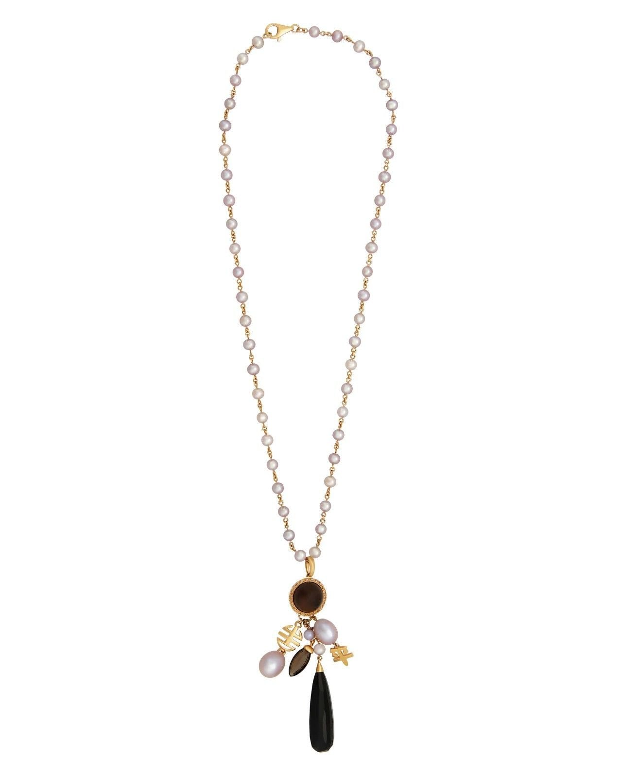 Mimi Milano Necklace In 18K Rose Gold, Black Agate, Smoky Quartz, Pearls C165RF3OM