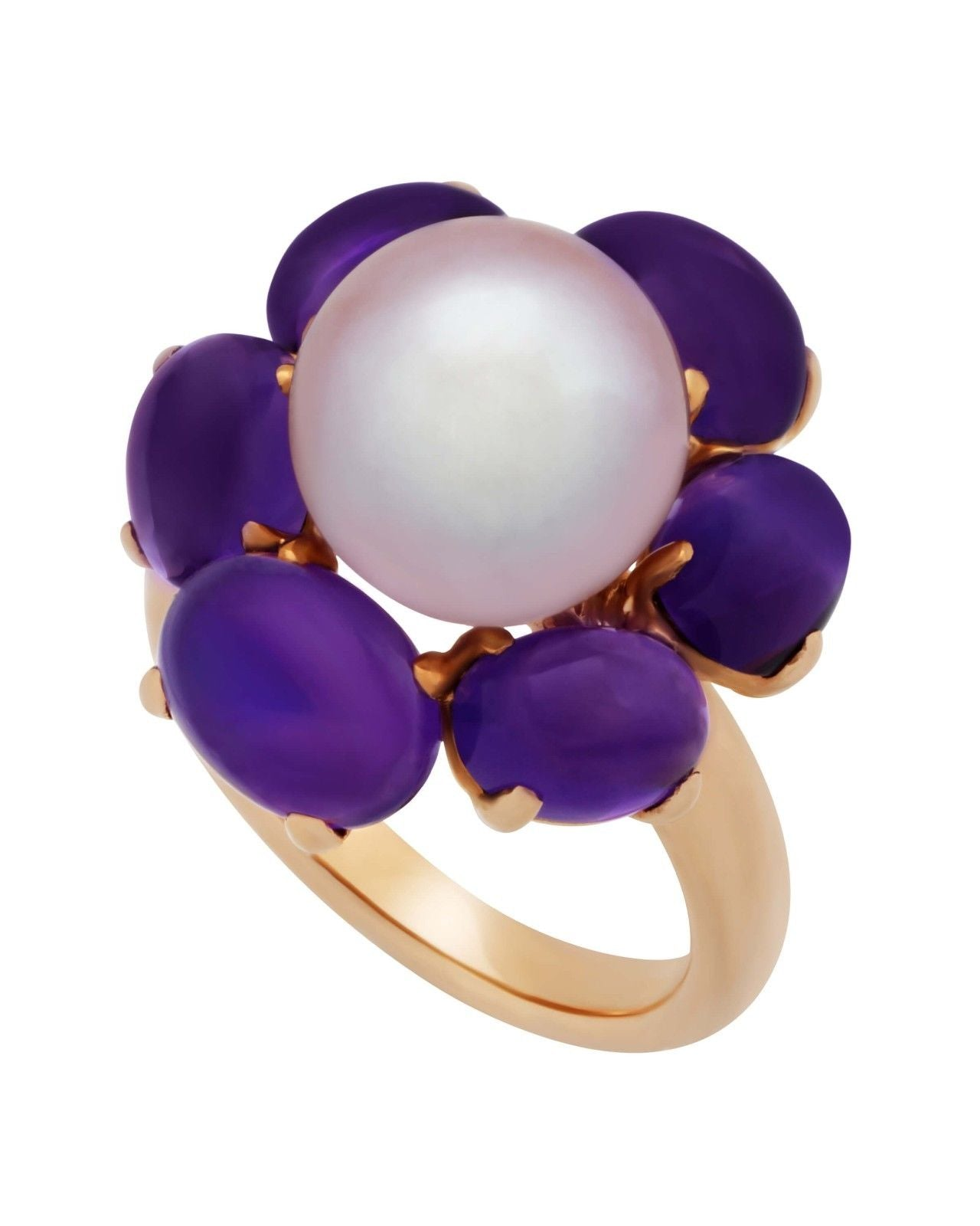 Mimi Milano Ring In 18K Rose Gold, Amethyst Violet Freshwater Pearl A308C3A