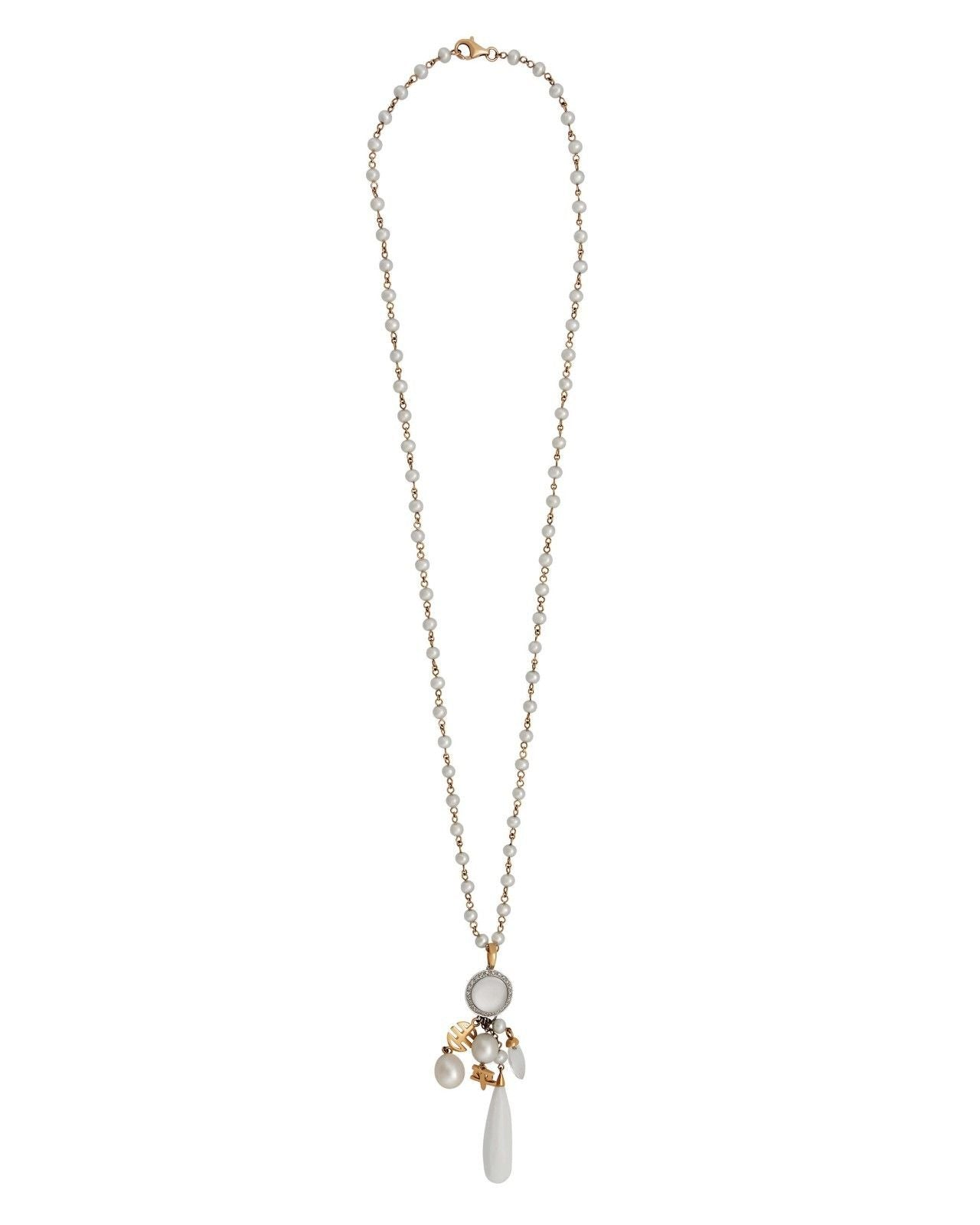 Mimi Milano Necklace In 18K Rose Gold, Agate, Rock Crystal, Pearls C165RJ1A1B