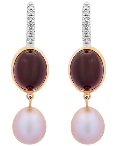 Mimi Milano 18K Rose White Gold, Garnet, Pearls Diamonds Earrings O322C3GB