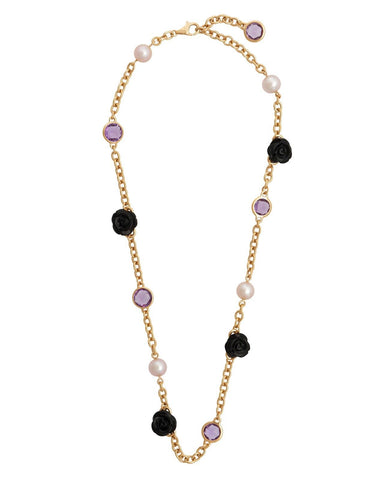 Mimi Milano Necklace In Rose 18K Gold, Black Agate, Violet Pearls C191R3OA