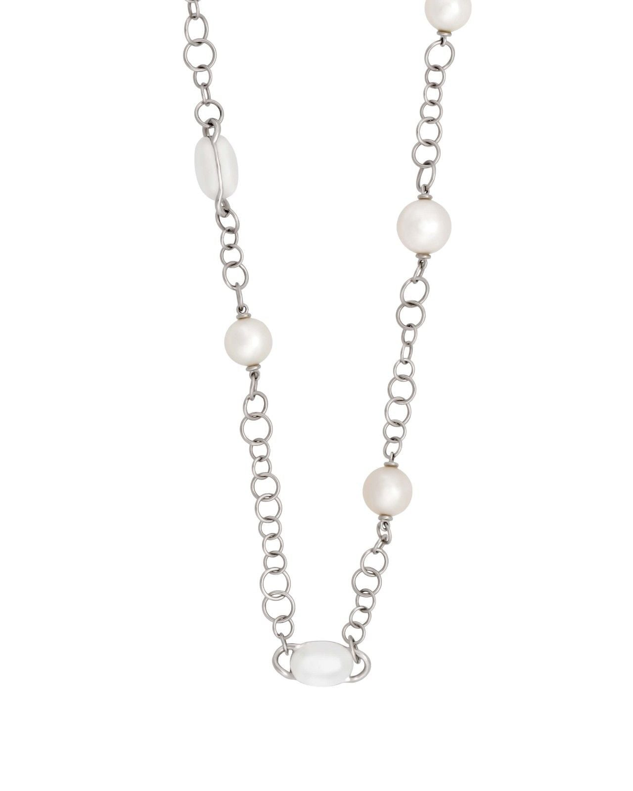Mimi Milano Necklace In 18K White Gold, Milky Quartz White Pearls C267B1QL