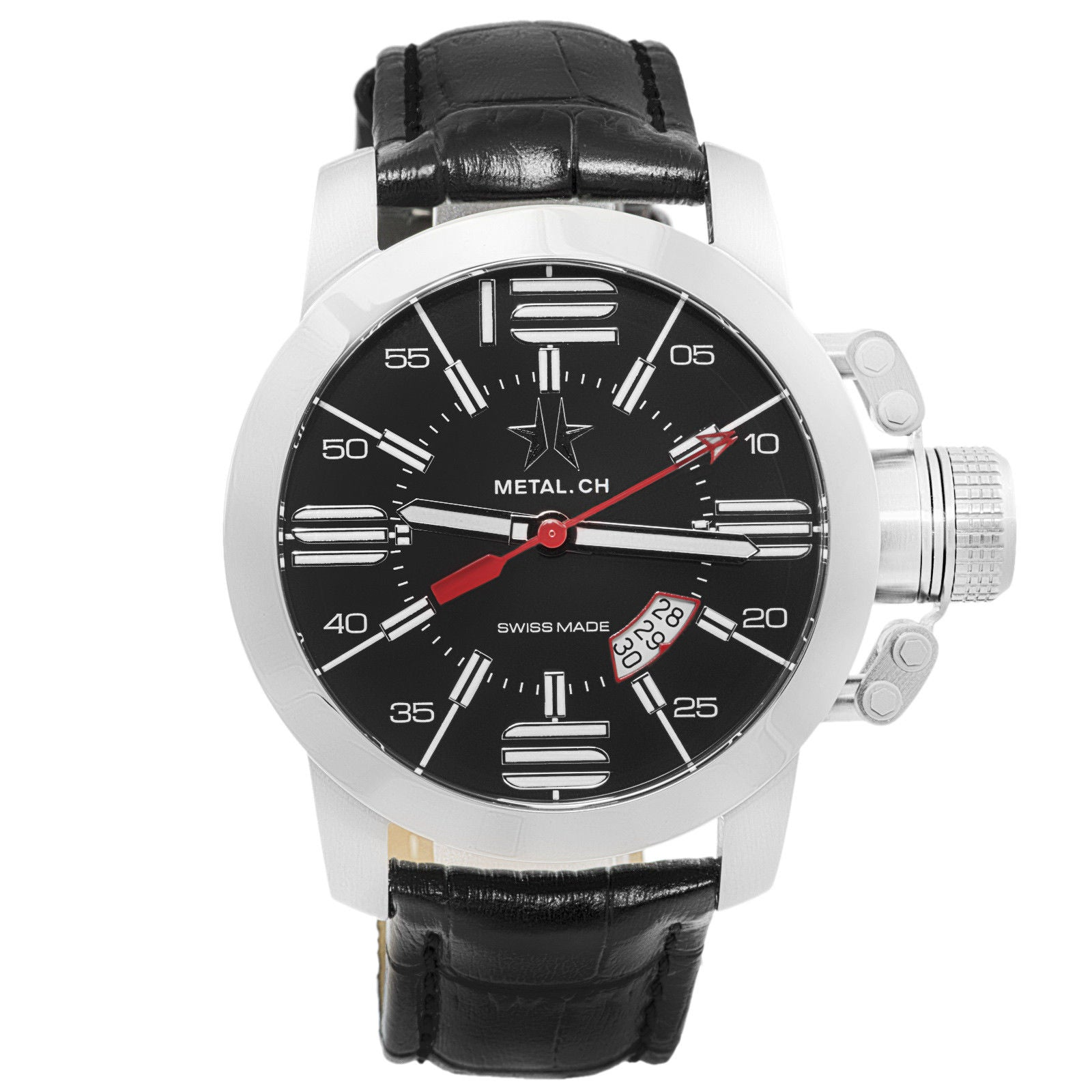 Chronometrie Initial Mens Swiss Made Black Leather Watch 1120.47-Luxury Watches | Mens And Ladies Luxury Watches | Upscale Time