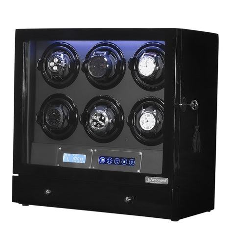 Arcanent Watch Winder 6 + 2 Slot Black LCD Digital Quality Made With Ball Bearings-Luxury Watches | Mens And Ladies Luxury Watches | Upscale Time
