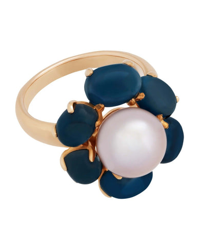 Mimi Milano Ring In 18K Rose Gold, Blue Topaz Violet Pearl A308C3T