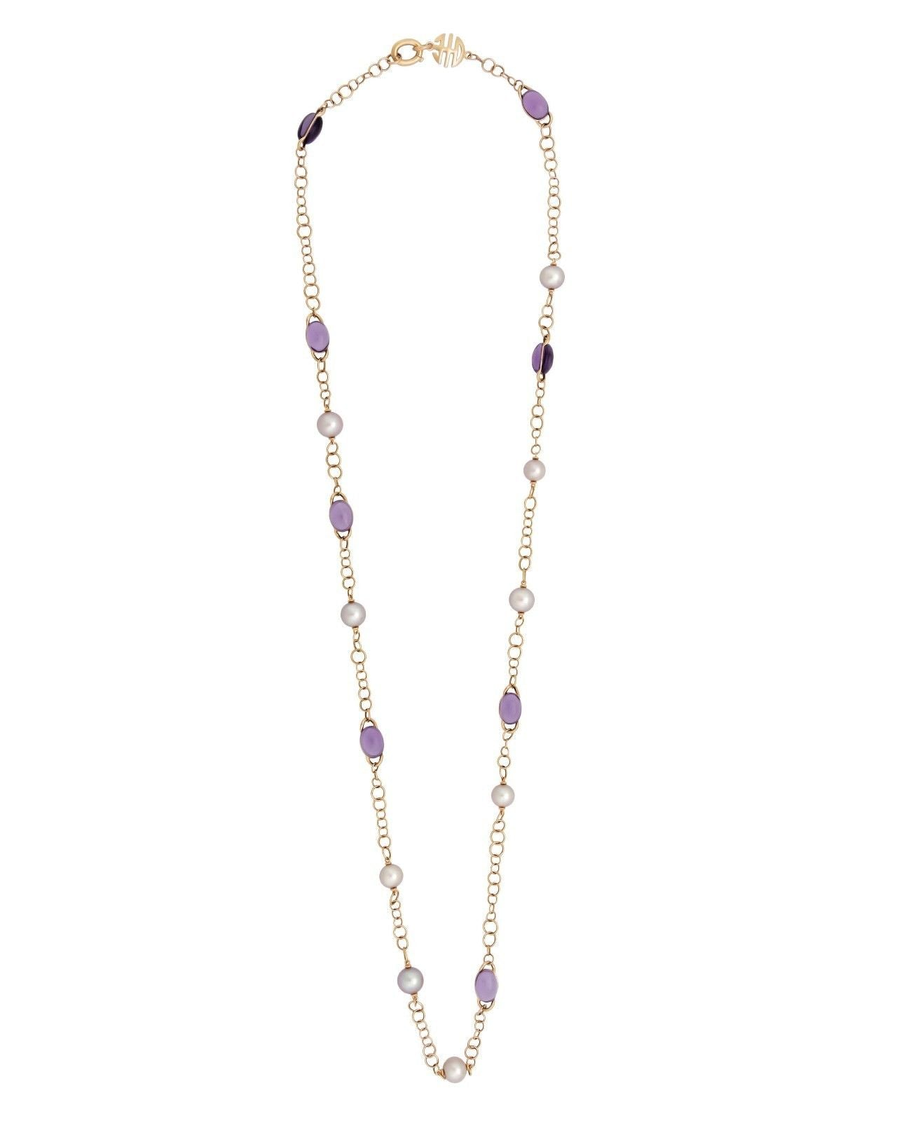Mimi Milano Necklace In 18K Rose Gold, Amethyst Violet Pearls C267R3A