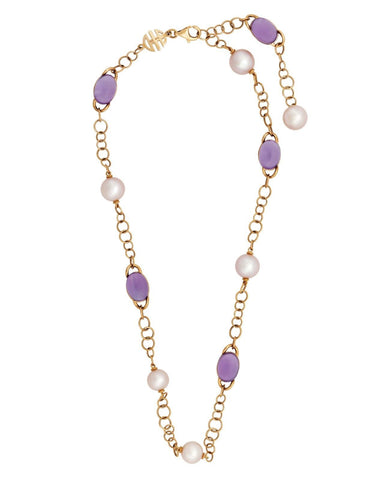 Mimi Milano Necklace In 18K Rose Gold, Amethyst Violet Pearls C266R3A