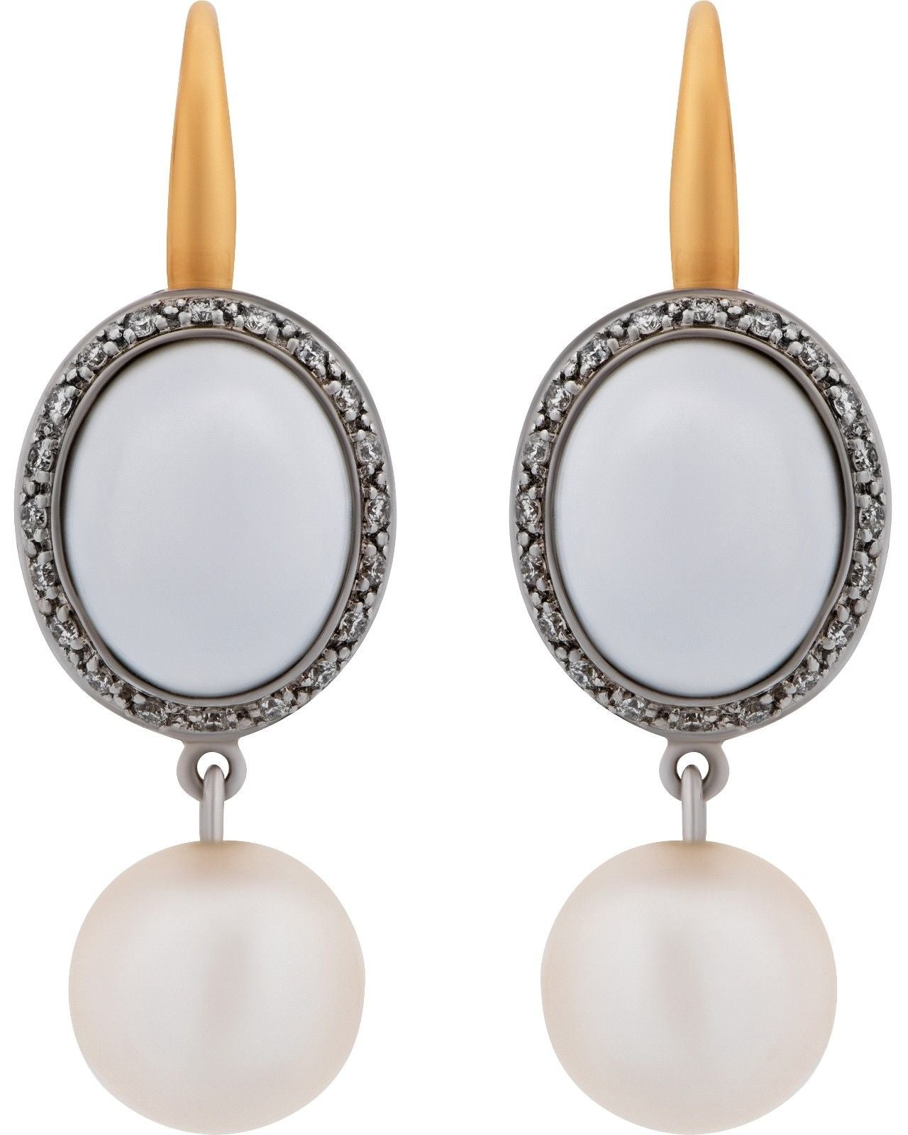 Mimi Milano 18K Rose White Gold, White Agate, Pearls, Diamonds Earring O319C1A1B