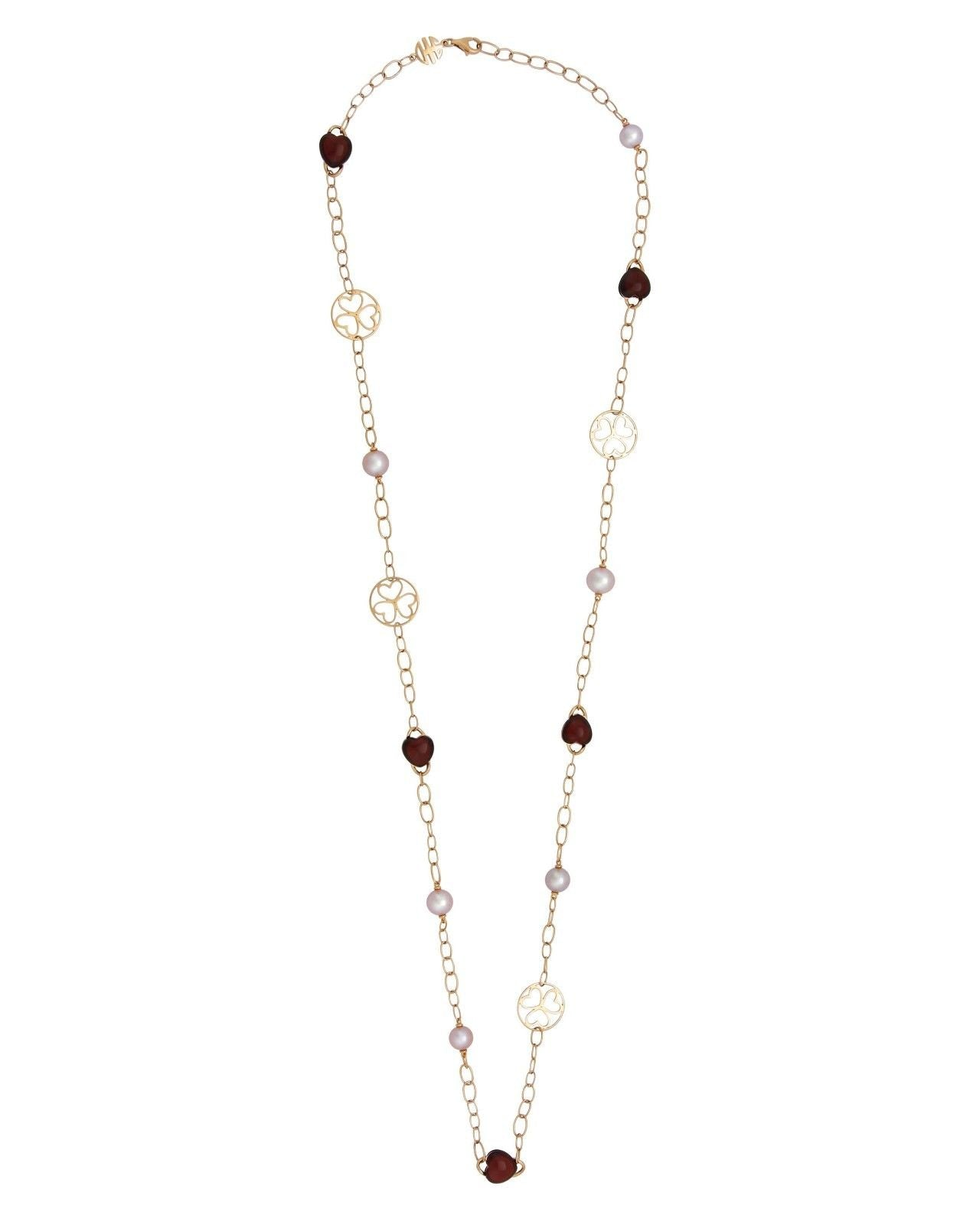 Mimi Milano Necklace In 18K Rose Gold, Garnet Violet Pearls C287R3G