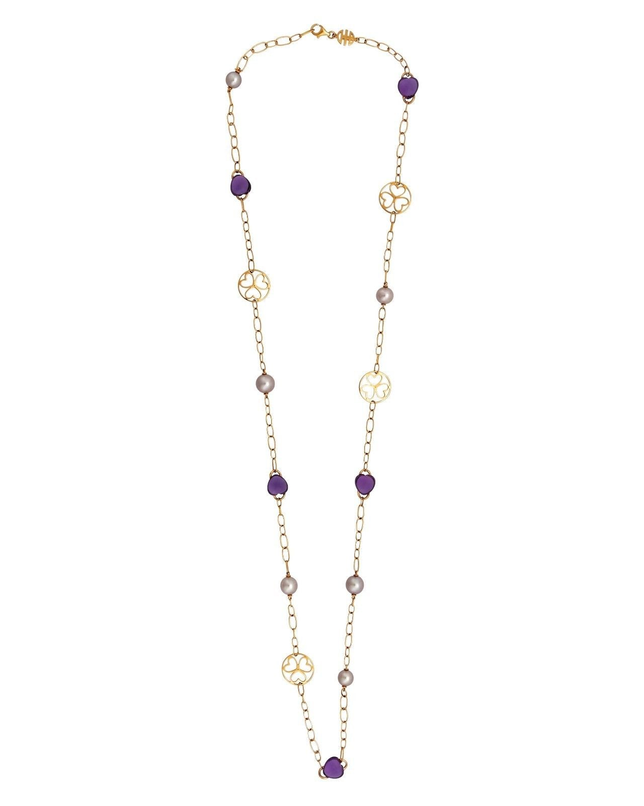 Mimi Milano Necklace In 18K Rose Gold, Amethyst Violet Pearls C287R3A