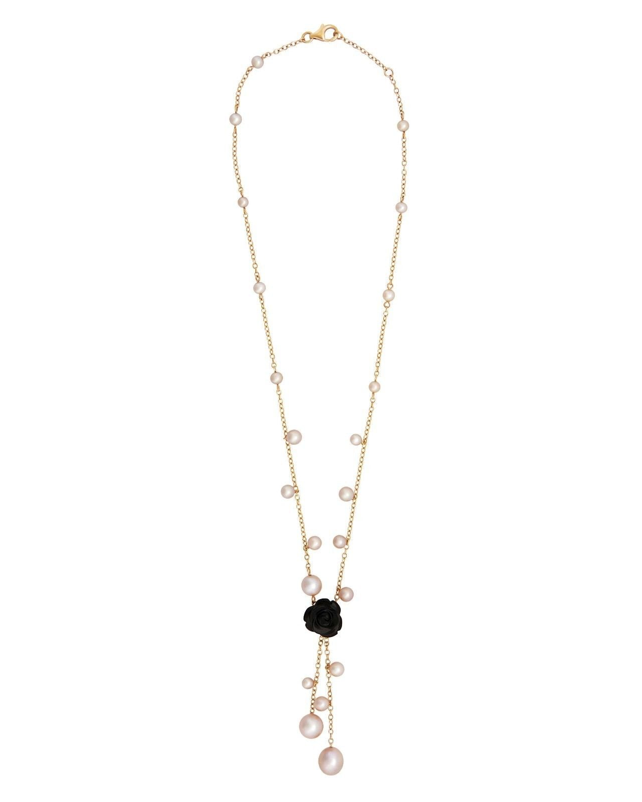 Mimi Milano Necklace In 18K Rose Gold, Black Agate Violet Pearls C228R3O