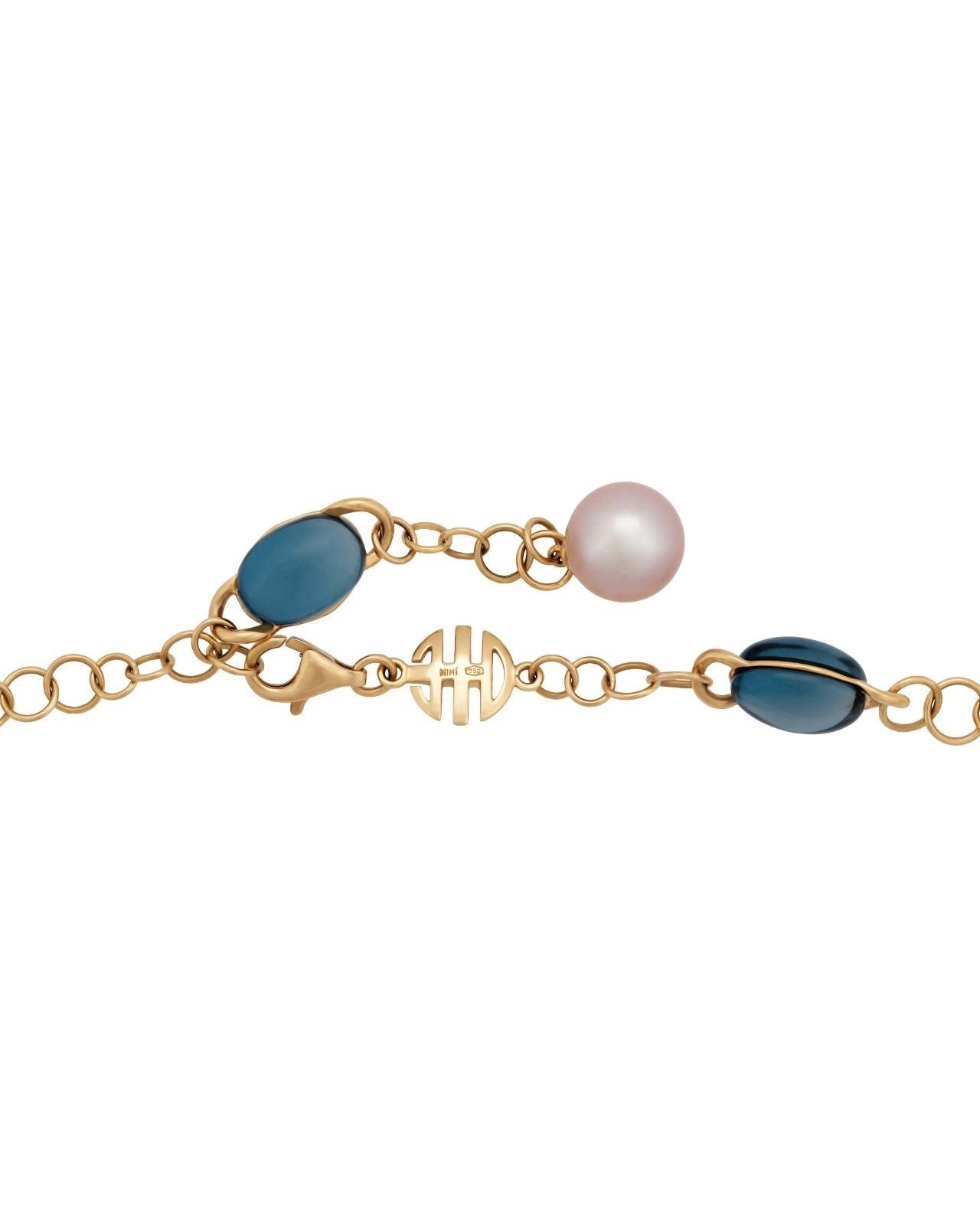Mimi Milano Necklace In 18K Rose Gold, Blue Topaz Violet Pearls C266R3T