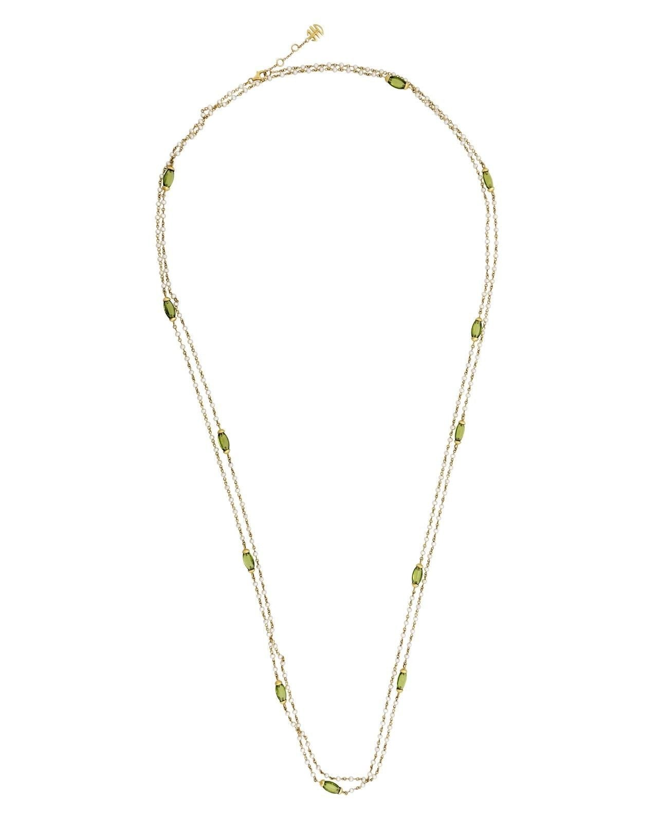 Mimi Milano Necklace In 18K Yellow Gold, Peridot Pink Pearls c102arp