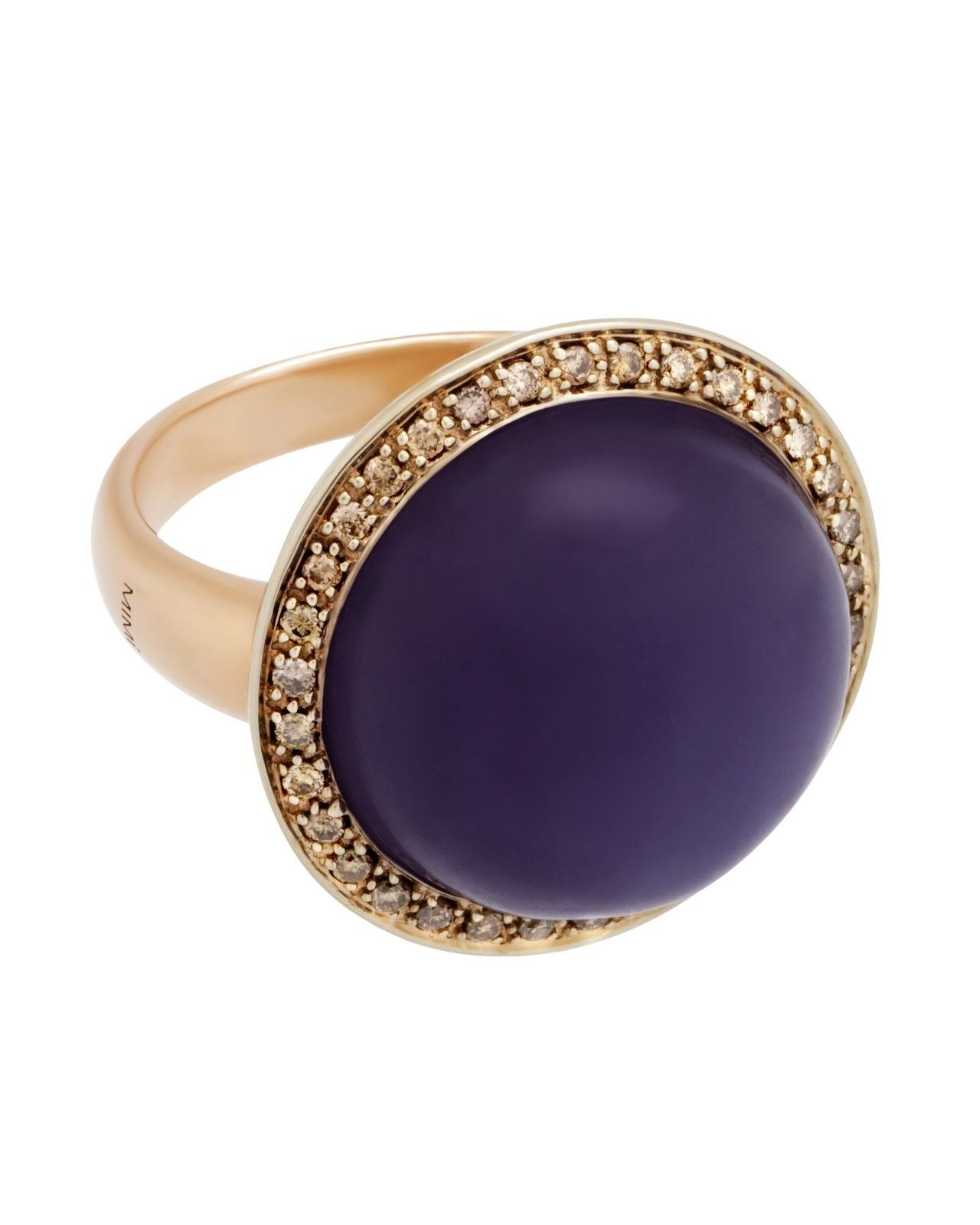 Mimi Milano Ring In Rose White 18K Gold, Lavender Jade Diamonds A150CL8M