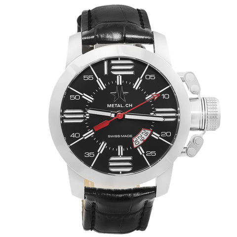 Chronometrie Initial Mens Swiss Made Black Leather Watch 1120.44-Luxury Watches | Mens And Ladies Luxury Watches | Upscale Time