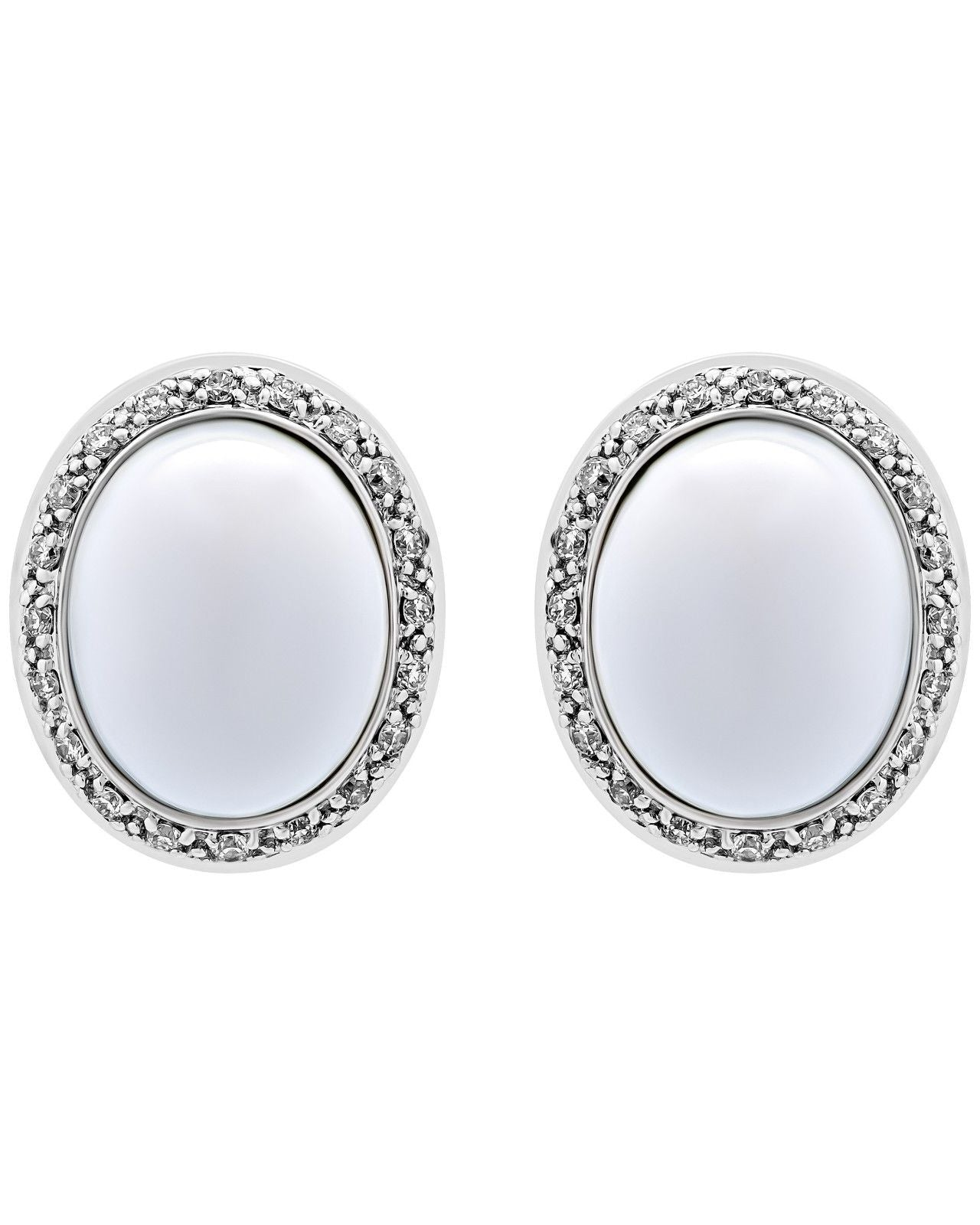 Mimi Milano 18K Rose White Gold, White Agate, Diamonds Earrings O318C8A1B