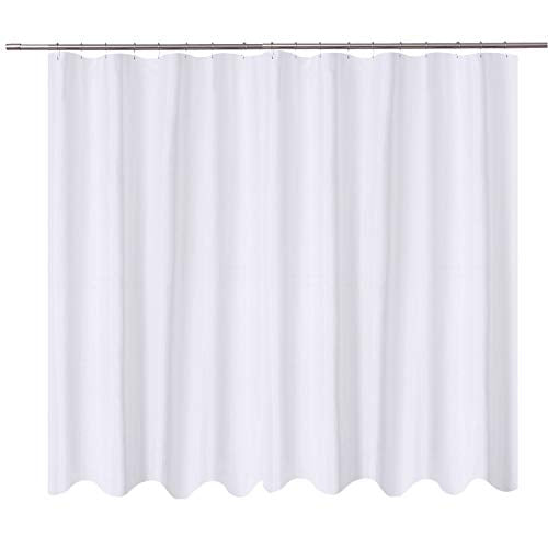 HOME Extra Wide Shower Curtain Liner Fabric   108 X 72 Inch, Hotel Quality,  Mildew Resistant, Washable, Water Repellent, White Spa Bathroom Curtains ...