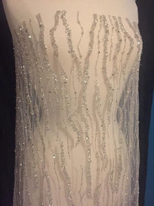 Beaded Fabric, Beaded Tulle, Beaded Material White or Ivory