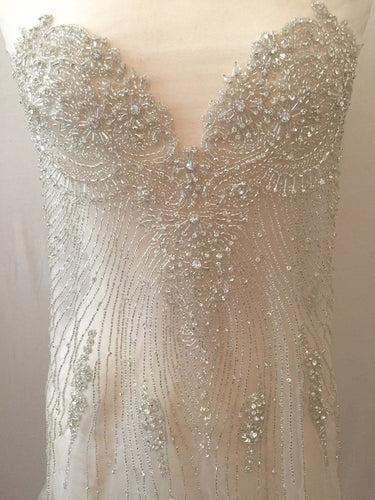 Rhinestone Beaded Applique - Large Crystal Wedding Applique