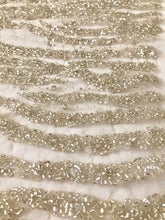 Load image into Gallery viewer, Beaded Fabric, Beaded Tulle, Beaded Material White or Ivory