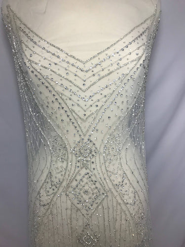 Rhinestone Beaded Fabric, Dress Panel
