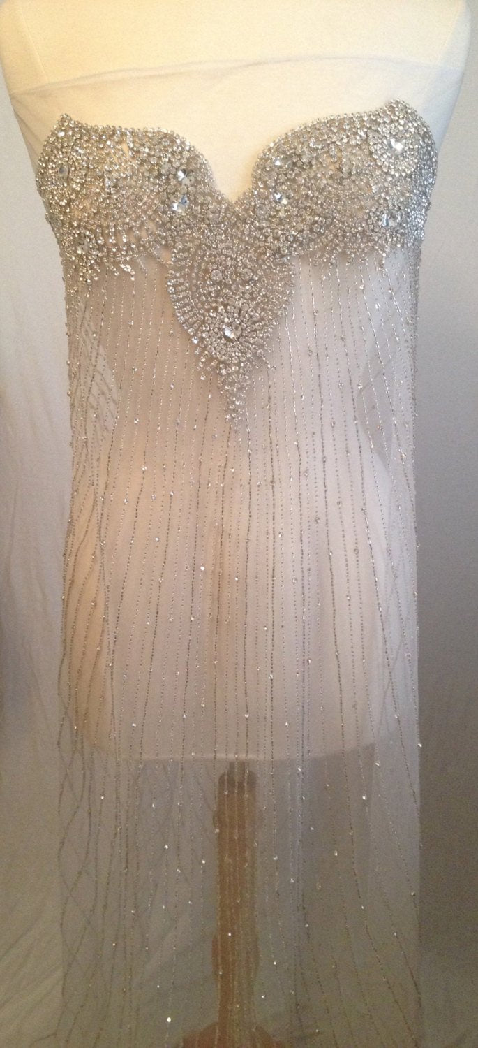 Heavy Rhinestone beaded dress panel