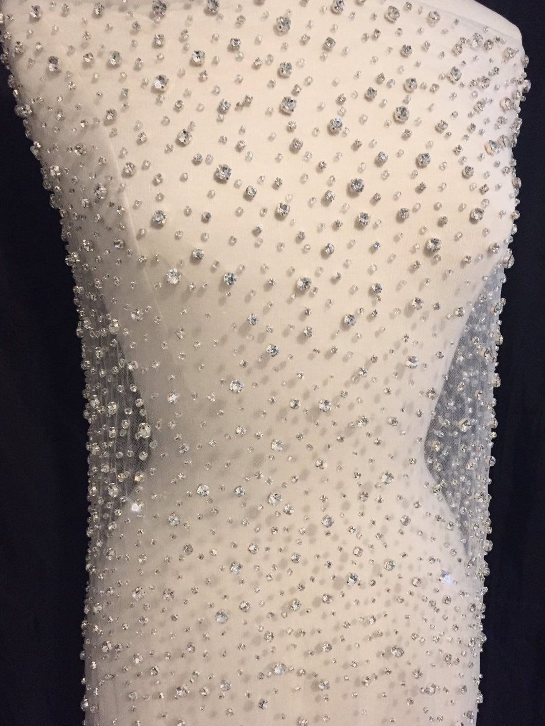 Rhinestone Beaded Tulle Fabric, Rhinestone Fabric, Beaded Fabric, Bridal Fabric Ready to Ship in White!