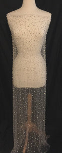 Rhinestone Beaded Tulle Fabric