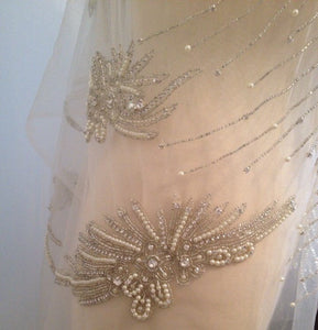 Rhinestone Beaded Applique, Great Rhinestone Fabric, Vintage Applique, Bridal Applique, Wedding Dress Fabric, Weddin Applique