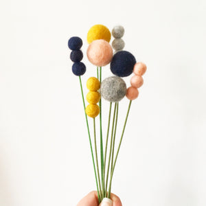 colourful felt ball billy button flowers