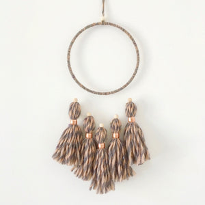 coral grey tassel wall hanging