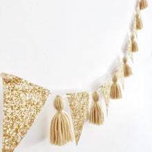 Load image into Gallery viewer, gold glitter bunting christmas the little shindig shop