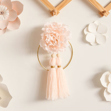 medium nude blush pink floral wall hanging