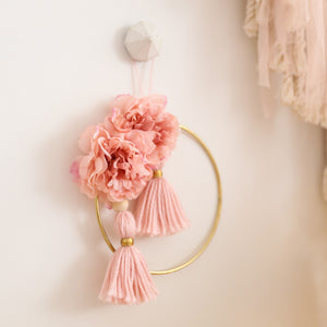 medium pink floral wall hanging