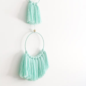mint tassel mobile wall hanging