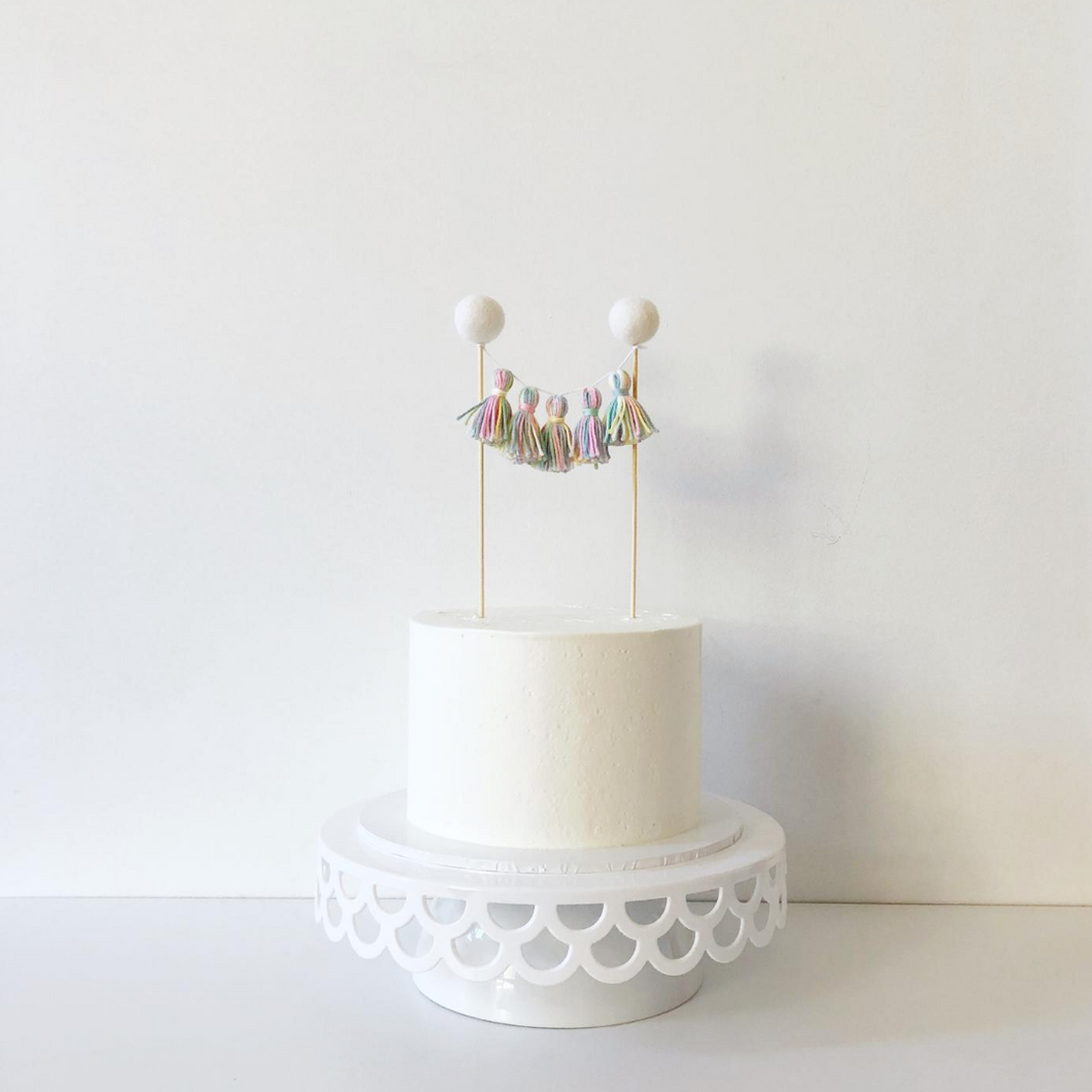 Rainbow party tassel cake topper The Little Shindig Shop
