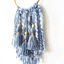 Load image into Gallery viewer, blue chunky yarn tassel wall hanging