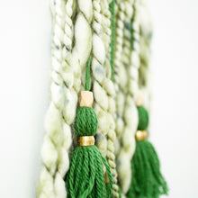 Load image into Gallery viewer, green chunky yarn tassel wall hanging