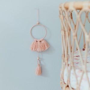 small pink tassel mobile wall hanging