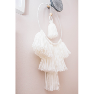 white breeze tassel mobile wall hanging