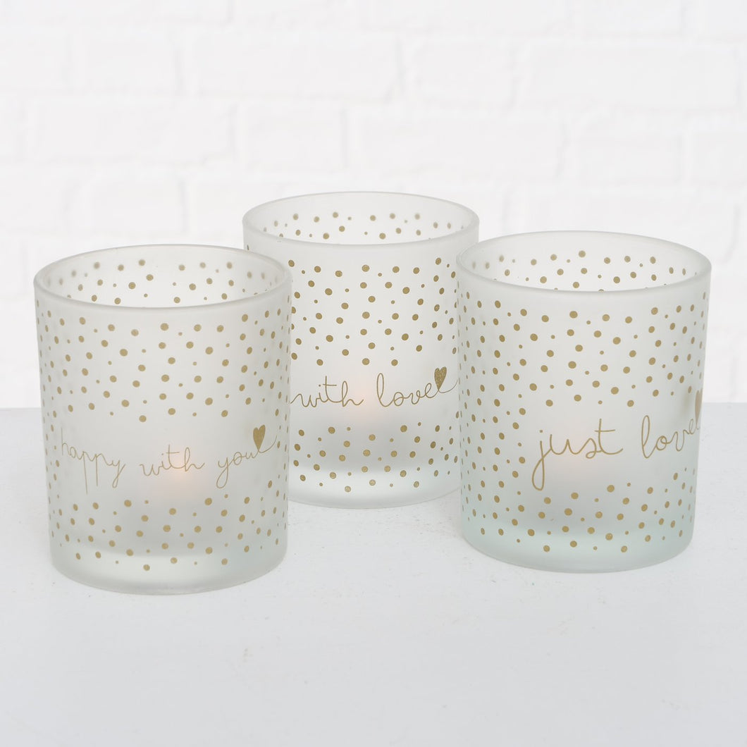 GOLD SPOTTY TEA LIGHT