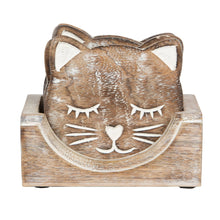 Load image into Gallery viewer, CARVED CAT FACE COASTERS