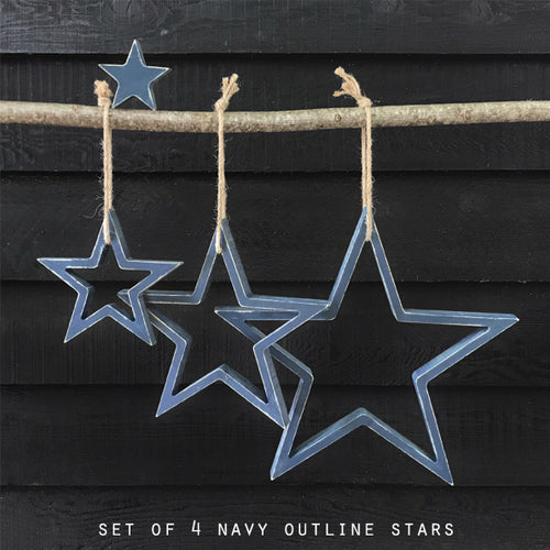 SET OF 4 NAVY OUTLINE STARS